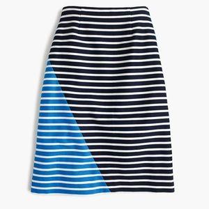 J. Crew Colorblock striped skirt A-line Career